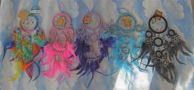 Beaded Dream Catcher with Color Beads/Feathers